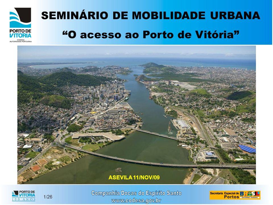 2/26 PRINCIPAIS DIFICULDADES Porto localizado em regiões densamente povoadas; Forte impacto ambiental nas cidades; Tráfego de caminhões junto aos de veículos e ônibus.
