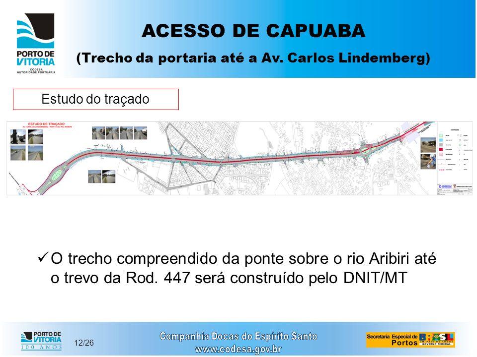 12/26 Estudo do traçado ACESSO DE CAPUABA (Trecho da portaria até a Av. Carlos Lindemberg) O trecho compreendido da ponte sobre o rio Aribiri até o tr