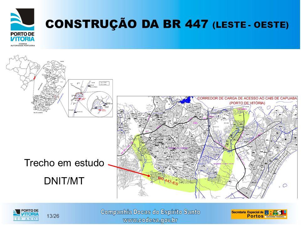 13/26 CONSTRUÇÃO DA BR 447 (LESTE - OESTE) Trecho em estudo DNIT/MT