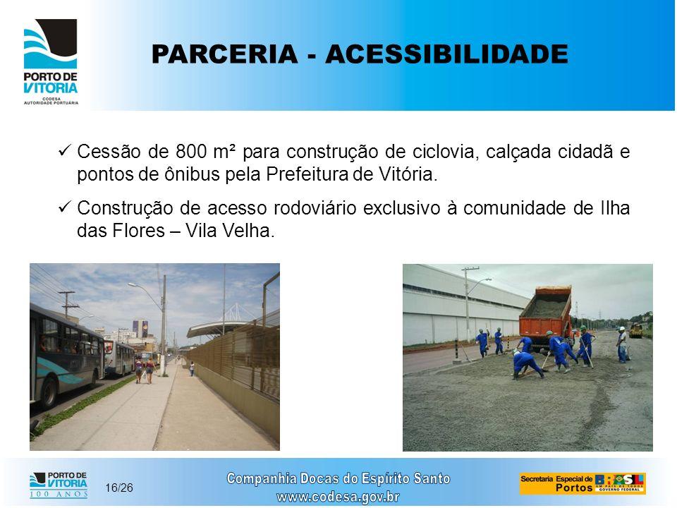16/26 PARCERIA - ACESSIBILIDADE Cessão de 800 m² para construção de ciclovia, calçada cidadã e pontos de ônibus pela Prefeitura de Vitória. Construção