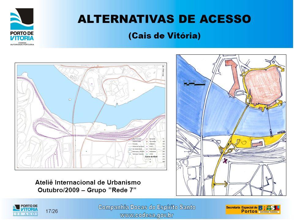 17/26 ALTERNATIVAS DE ACESSO (Cais de Vitória) Ateliê Internacional de Urbanismo Outubro/2009 – Grupo Rede 7