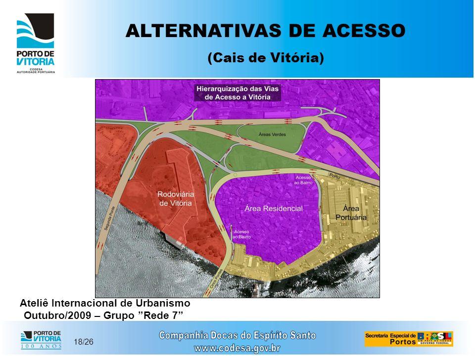 18/26 ALTERNATIVAS DE ACESSO (Cais de Vitória) Ateliê Internacional de Urbanismo Outubro/2009 – Grupo Rede 7