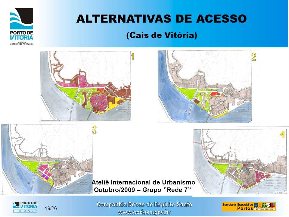 19/26 ALTERNATIVAS DE ACESSO (Cais de Vitória) Ateliê Internacional de Urbanismo Outubro/2009 – Grupo Rede 7