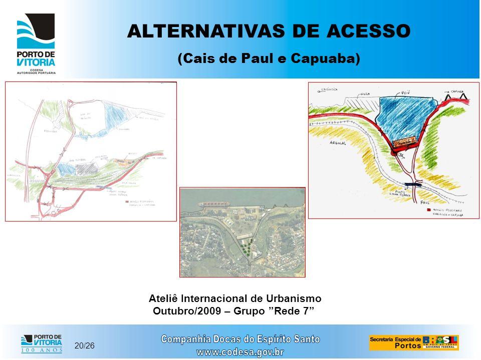 20/26 ALTERNATIVAS DE ACESSO (Cais de Paul e Capuaba) Ateliê Internacional de Urbanismo Outubro/2009 – Grupo Rede 7