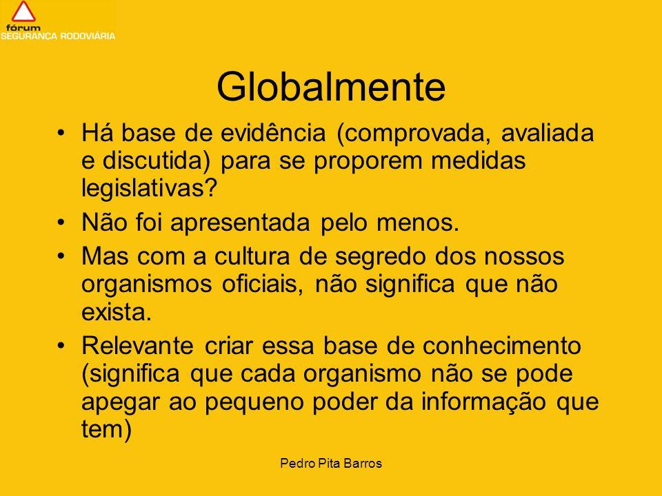 Pedro Pita Barros Globalmente Há base de evidência (comprovada, avaliada e discutida) para se proporem medidas legislativas? Não foi apresentada pelo