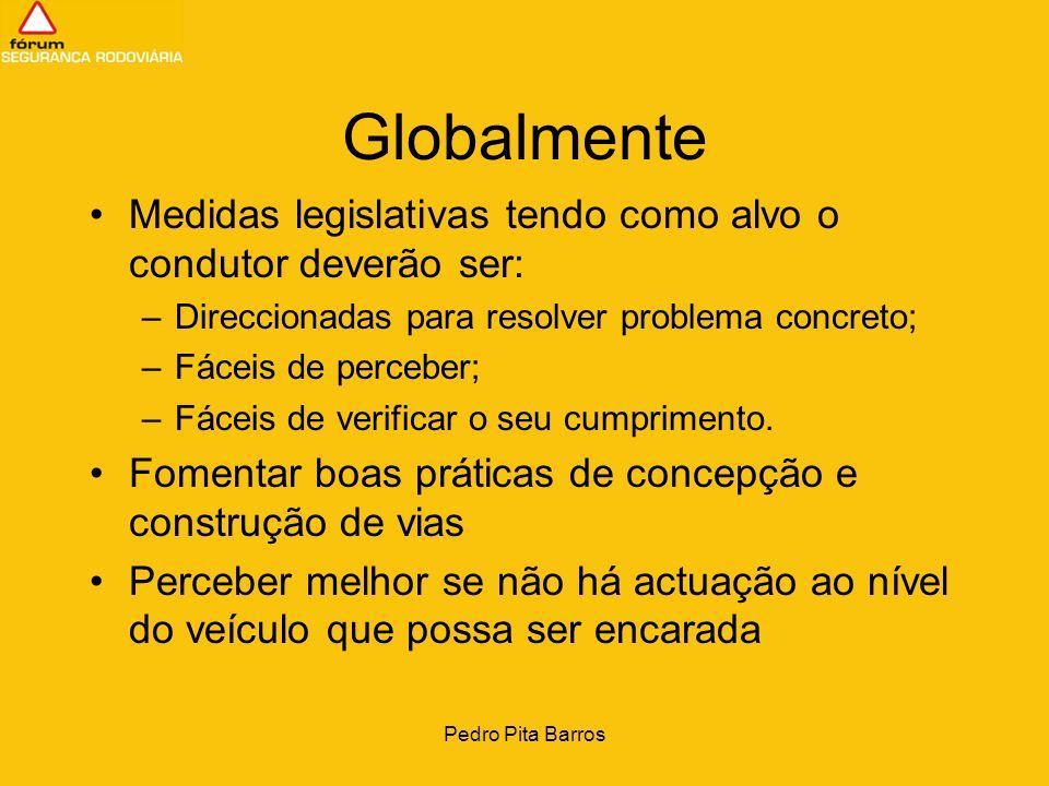Pedro Pita Barros Globalmente Medidas legislativas tendo como alvo o condutor deverão ser: –Direccionadas para resolver problema concreto; –Fáceis de
