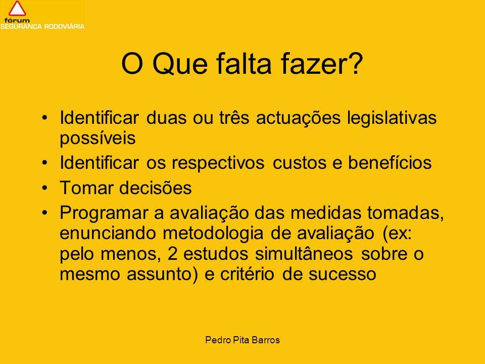 Pedro Pita Barros O Que falta fazer? Identificar duas ou três actuações legislativas possíveis Identificar os respectivos custos e benefícios Tomar de