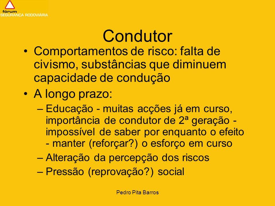 Pedro Pita Barros Condutor Comportamentos de risco: falta de civismo, substâncias que diminuem capacidade de condução A longo prazo: –Educação - muita