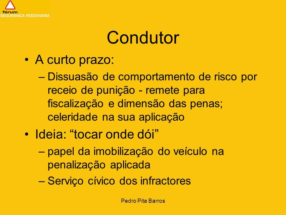 Pedro Pita Barros Condutor A curto prazo: –Dissuasão de comportamento de risco por receio de punição - remete para fiscalização e dimensão das penas;