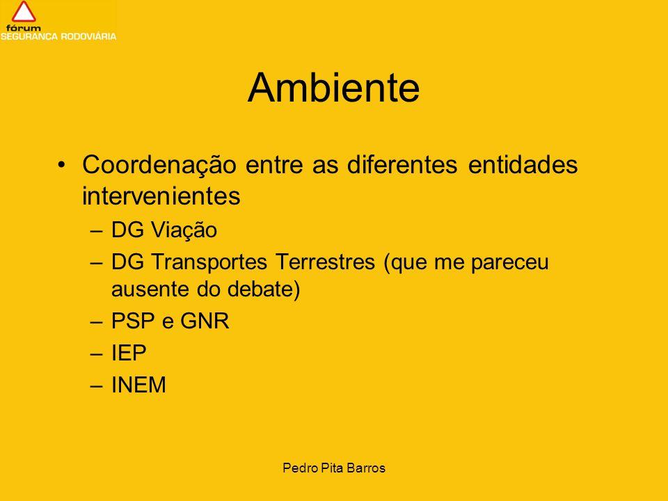 Pedro Pita Barros Ambiente Coordenação entre as diferentes entidades intervenientes –DG Viação –DG Transportes Terrestres (que me pareceu ausente do d