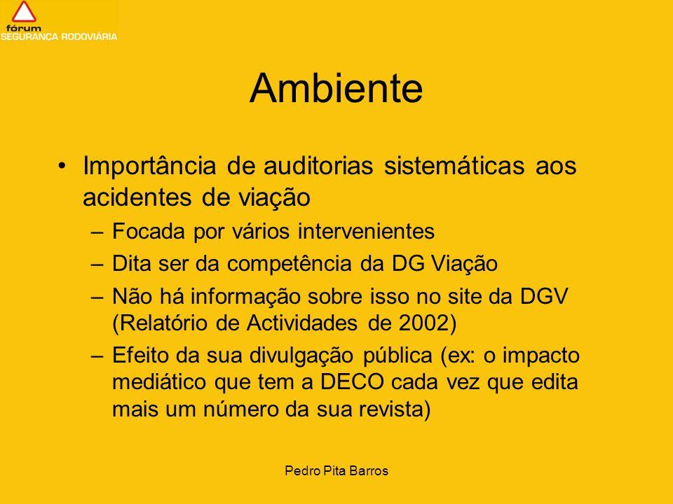 Pedro Pita Barros Ambiente Importância de auditorias sistemáticas aos acidentes de viação –Focada por vários intervenientes –Dita ser da competência d