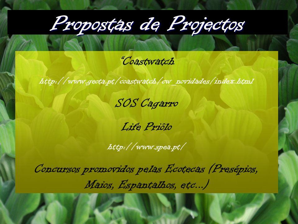 Propostas de Projectos Coastwatch http://www.geota.pt/coastwatch/cw_novidades/index.html SOS Cagarro Life Priôlo http://www.spea.pt/ Concursos promovidos pelas Ecotecas (Presépios, Maios, Espantalhos, etc...)
