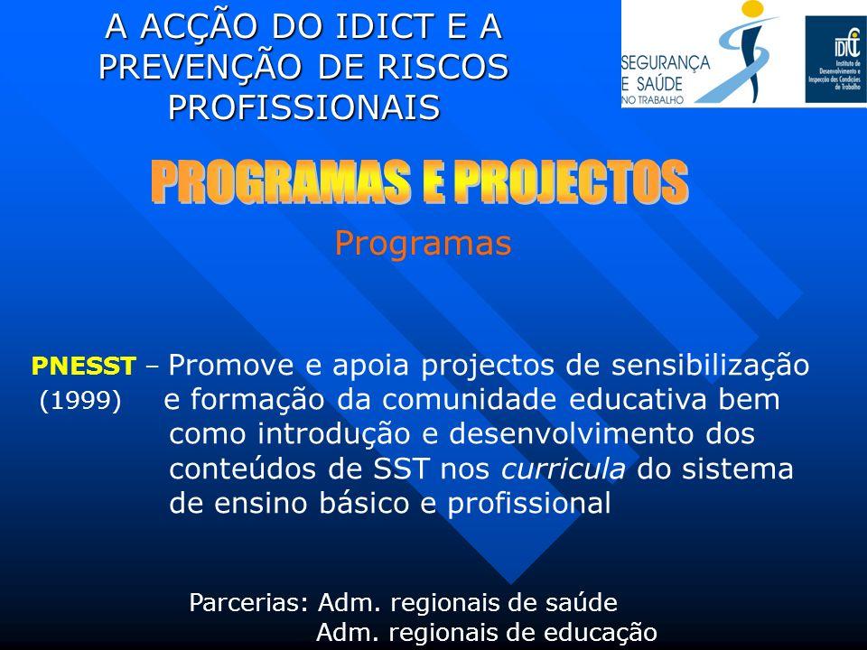 A ACÇÃO DO IDICT E A PREVENÇÃO DE RISCOS PROFISSIONAIS PNESST – Promove e apoia projectos de sensibilização (1999) e formação da comunidade educativa