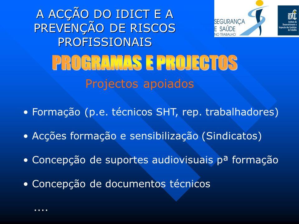 A ACÇÃO DO IDICT E A PREVENÇÃO DE RISCOS PROFISSIONAIS Formação (p.e. técnicos SHT, rep. trabalhadores) Acções formação e sensibilização (Sindicatos)