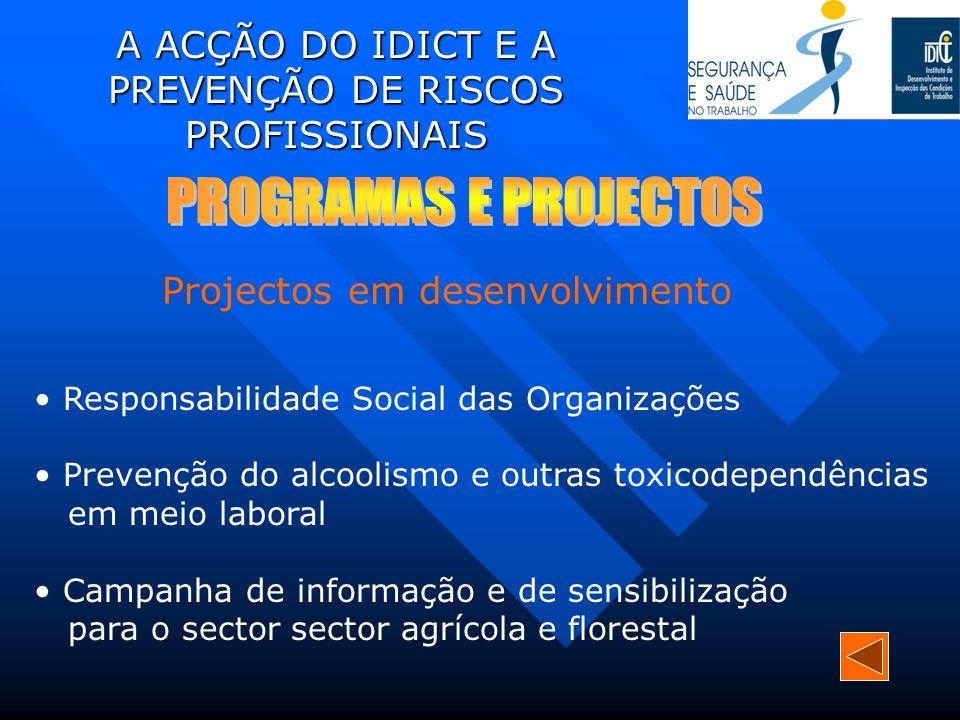 A ACÇÃO DO IDICT E A PREVENÇÃO DE RISCOS PROFISSIONAIS Responsabilidade Social das Organizações Prevenção do alcoolismo e outras toxicodependências em