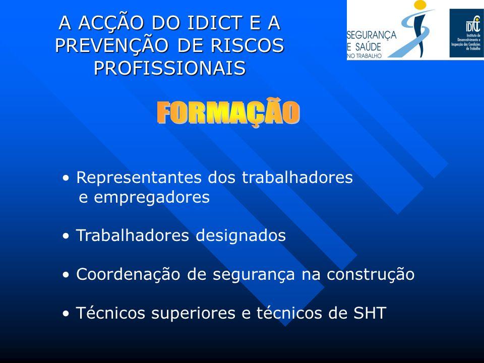 A ACÇÃO DO IDICT E A PREVENÇÃO DE RISCOS PROFISSIONAIS Representantes dos trabalhadores e empregadores Trabalhadores designados Coordenação de seguran