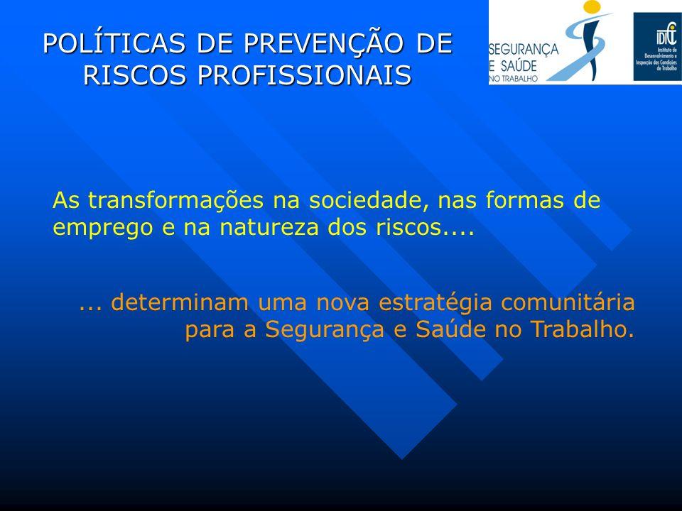 POLÍTICAS DE PREVENÇÃO DE RISCOS PROFISSIONAIS As transformações na sociedade, nas formas de emprego e na natureza dos riscos....... determinam uma no