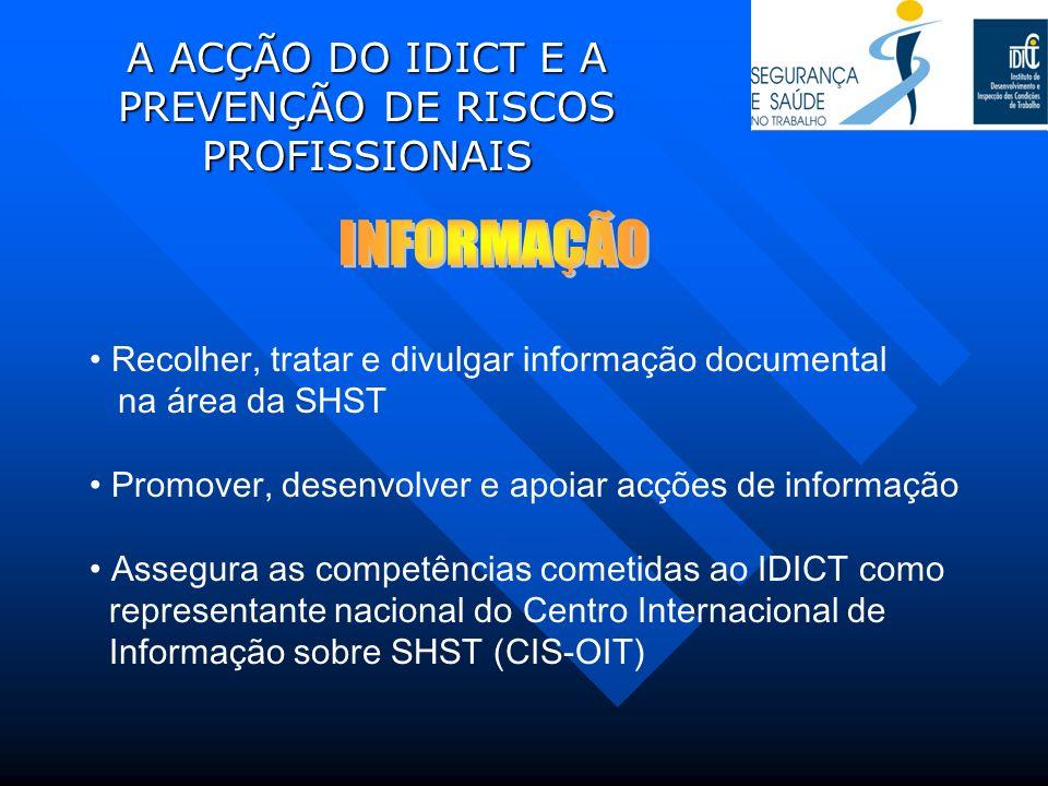 A ACÇÃO DO IDICT E A PREVENÇÃO DE RISCOS PROFISSIONAIS Recolher, tratar e divulgar informação documental na área da SHST Promover, desenvolver e apoia