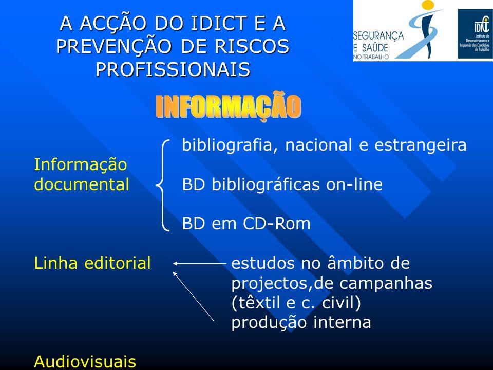 A ACÇÃO DO IDICT E A PREVENÇÃO DE RISCOS PROFISSIONAIS bibliografia, nacional e estrangeira Informação documental BD bibliográficas on-line BD em CD-R