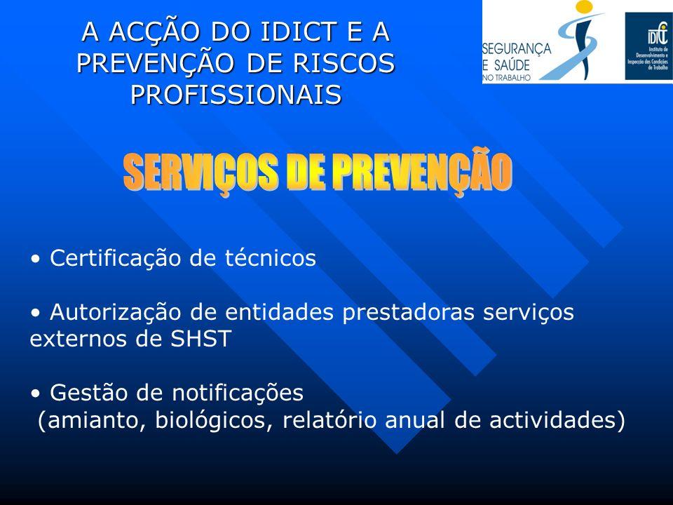 A ACÇÃO DO IDICT E A PREVENÇÃO DE RISCOS PROFISSIONAIS Certificação de técnicos Autorização de entidades prestadoras serviços externos de SHST Gestão