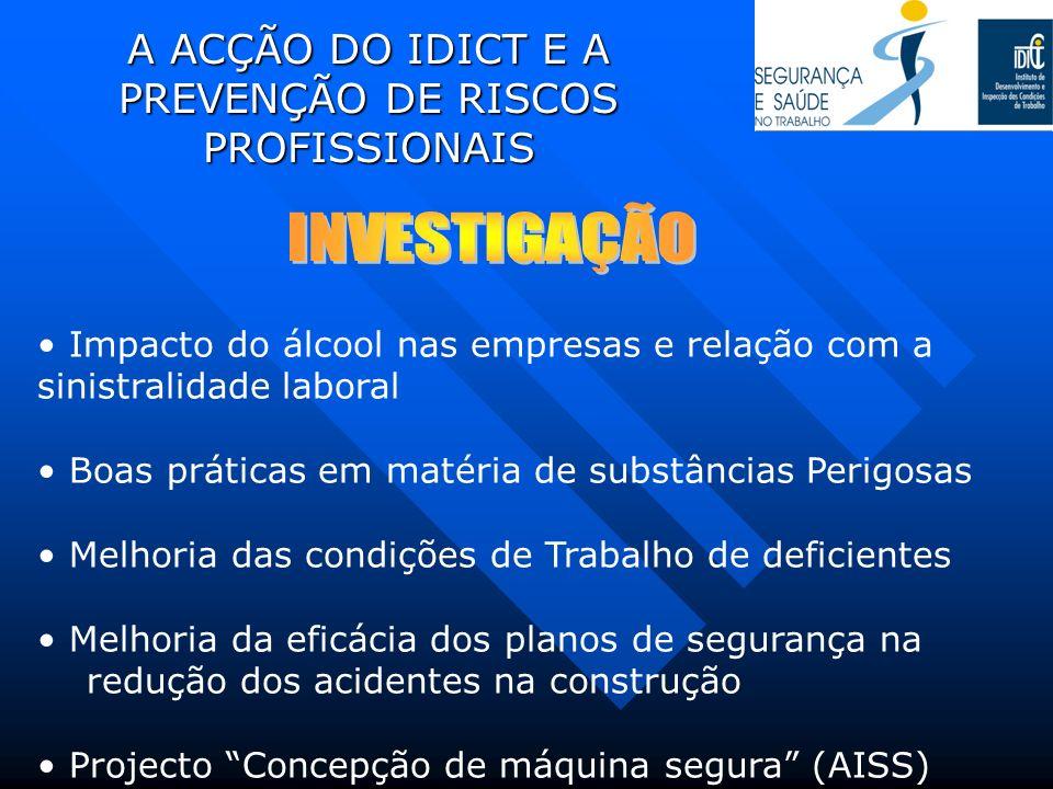 A ACÇÃO DO IDICT E A PREVENÇÃO DE RISCOS PROFISSIONAIS Impacto do álcool nas empresas e relação com a sinistralidade laboral Boas práticas em matéria
