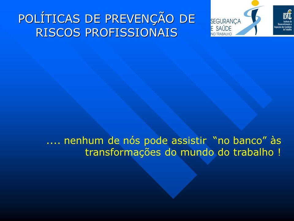 POLÍTICAS DE PREVENÇÃO DE RISCOS PROFISSIONAIS.... nenhum de nós pode assistir no banco às transformações do mundo do trabalho !
