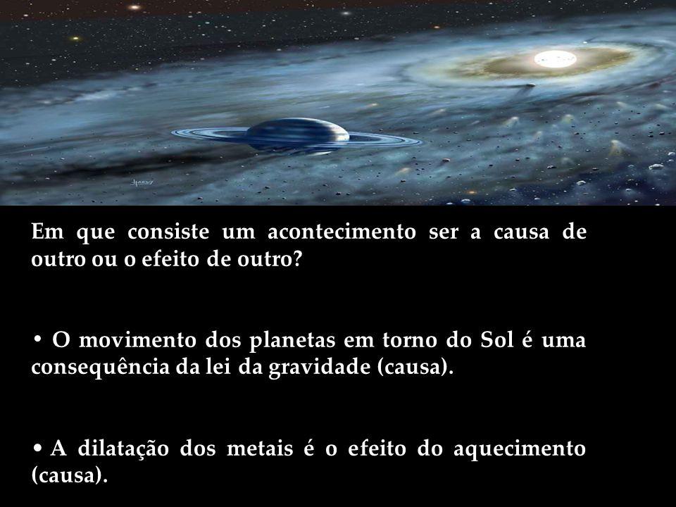 Em que consiste um acontecimento ser a causa de outro ou o efeito de outro? O movimento dos planetas em torno do Sol é uma consequência da lei da grav