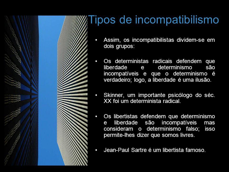 Tipos de incompatibilismo Assim, os incompatibilistas dividem-se em dois grupos: Os deterministas radicais defendem que liberdade e determinismo são i