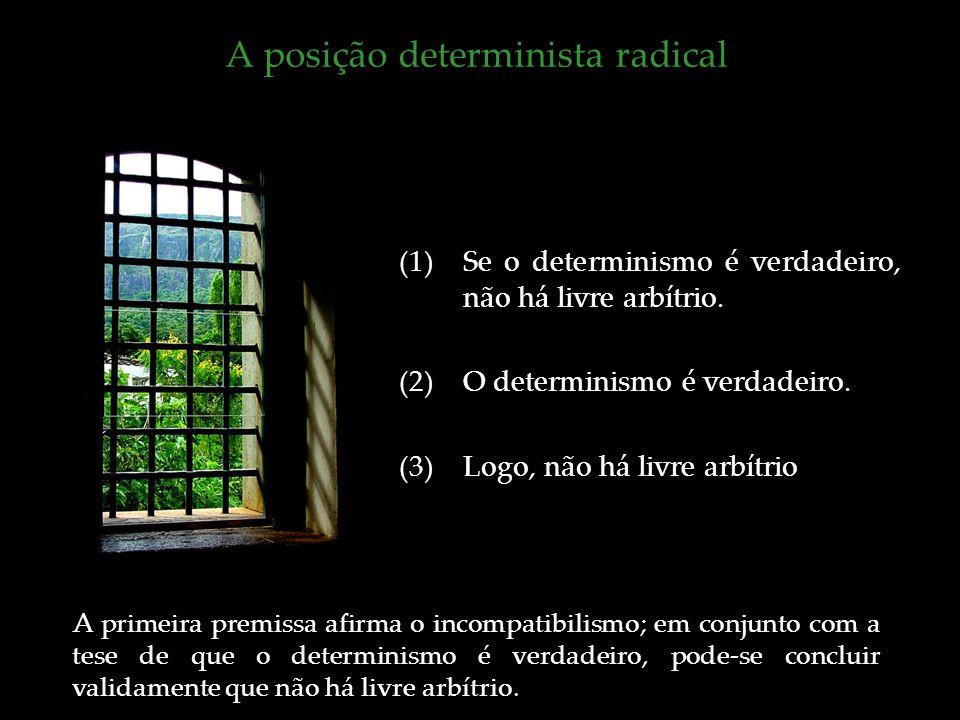 A posição determinista radical (1)Se o determinismo é verdadeiro, não há livre arbítrio. (2)O determinismo é verdadeiro. (3)Logo, não há livre arbítri