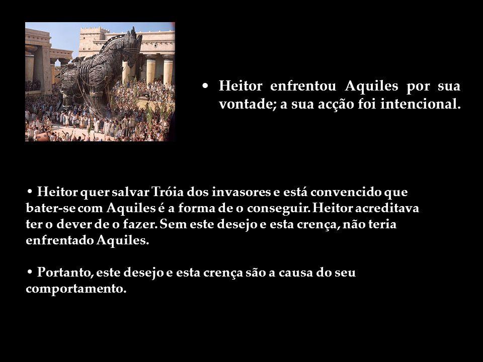 Heitor enfrentou Aquiles por sua vontade; a sua acção foi intencional. Heitor quer salvar Tróia dos invasores e está convencido que bater-se com Aquil