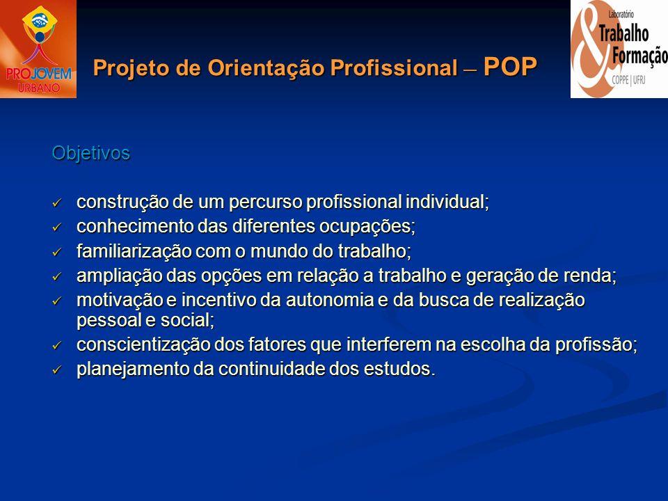 Objetivos construção de um percurso profissional individual; construção de um percurso profissional individual; conhecimento das diferentes ocupações;