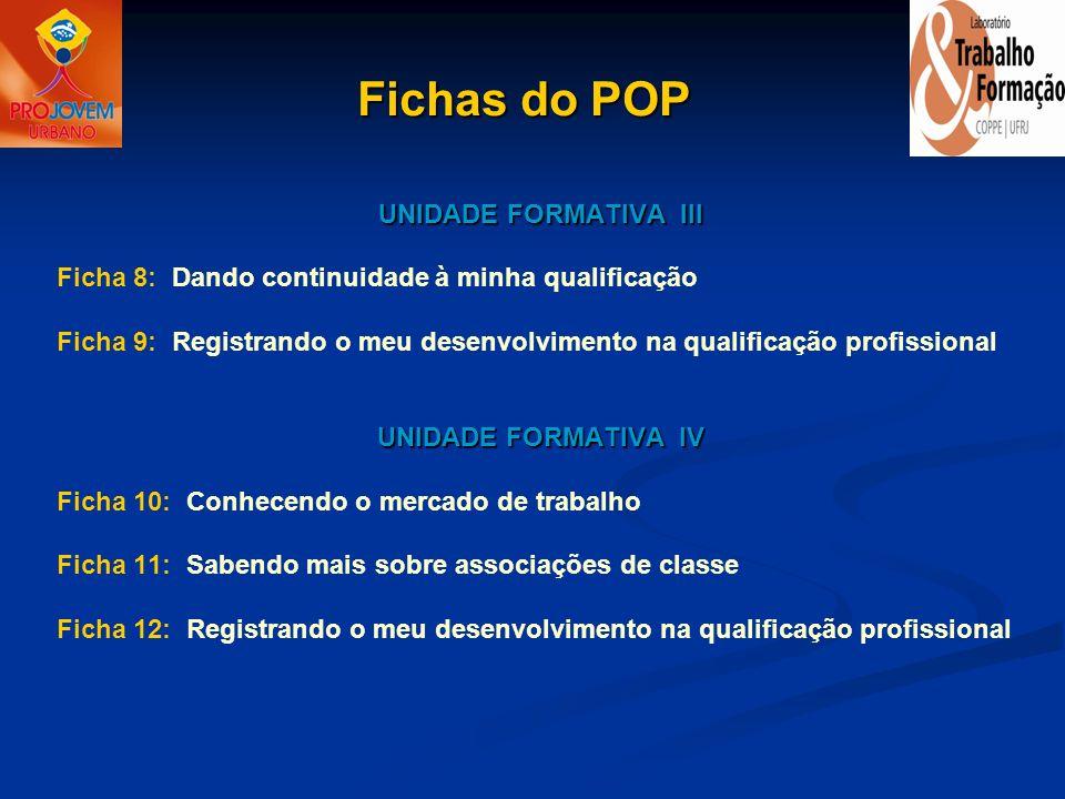 UNIDADE FORMATIVA III Ficha 8: Dando continuidade à minha qualificação Ficha 9: Registrando o meu desenvolvimento na qualificação profissional UNIDADE