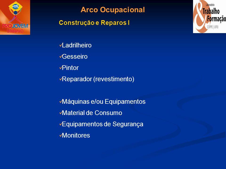 Arco Ocupacional Construção e Reparos I Ladrilheiro Gesseiro Pintor Reparador (revestimento) Máquinas e/ou Equipamentos Material de Consumo Equipament