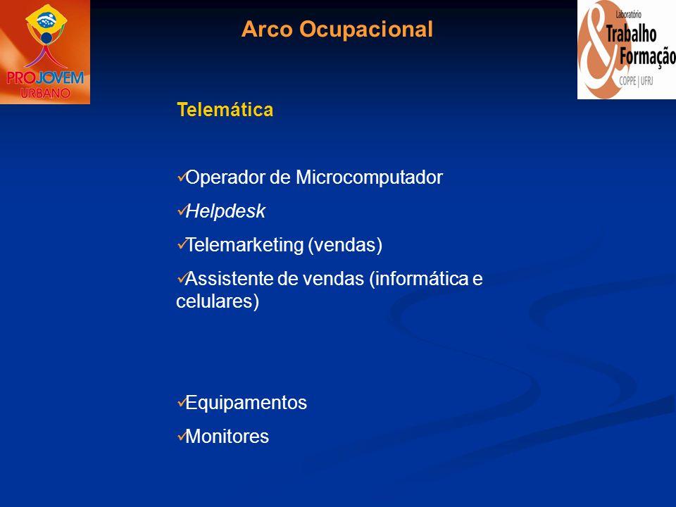 Arco Ocupacional Telemática Operador de Microcomputador Helpdesk Telemarketing (vendas) Assistente de vendas (informática e celulares) Equipamentos Mo