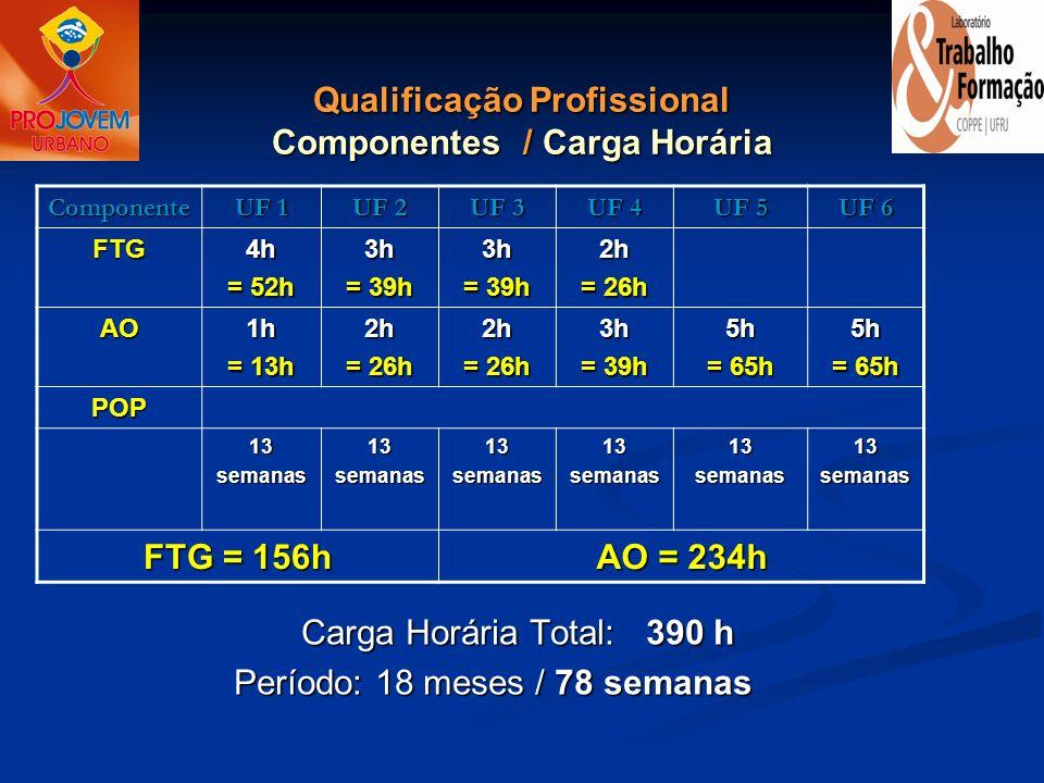 Qualificação Profissional Componentes / Carga Horária Carga Horária Total: 390 h Período: 18 meses / 78 semanasComponente UF 1 UF 2 UF 3 UF 4 UF 5 UF