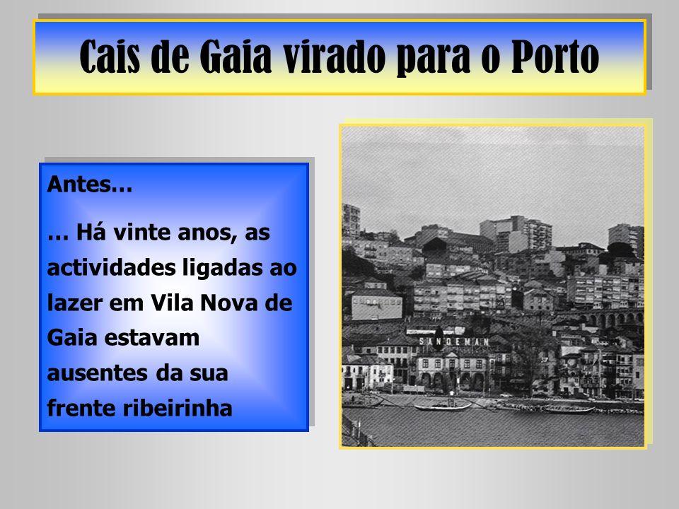 Cais de Gaia virado para o Porto Antes… … Há vinte anos, as actividades ligadas ao lazer em Vila Nova de Gaia estavam ausentes da sua frente ribeirinh
