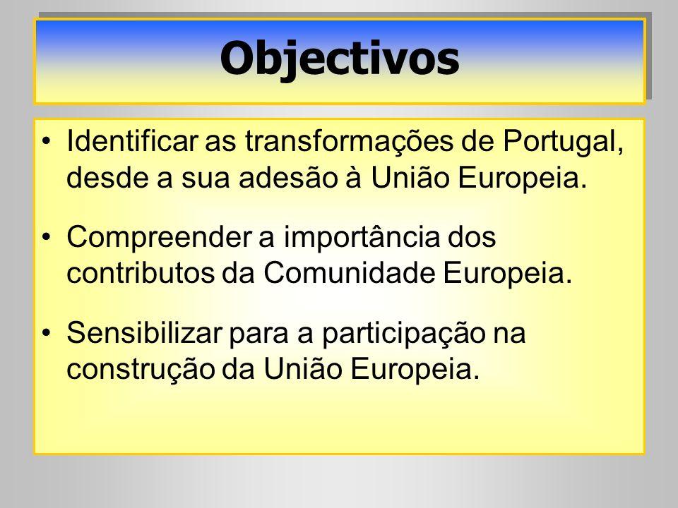 Identificar as transformações de Portugal, desde a sua adesão à União Europeia. Compreender a importância dos contributos da Comunidade Europeia. Sens