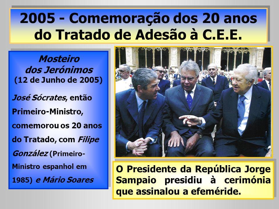 2005 - Comemoração dos 20 anos do Tratado de Adesão à C.E.E. Mosteiro dos Jerónimos (12 de Junho de 2005) José Sócrates, então Primeiro-Ministro, come