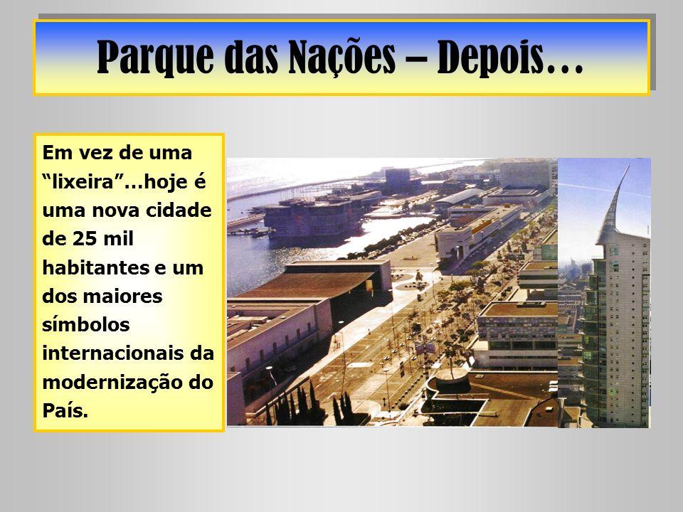 Parque das Nações – Depois… Em vez de uma lixeira…hoje é uma nova cidade de 25 mil habitantes e um dos maiores símbolos internacionais da modernização