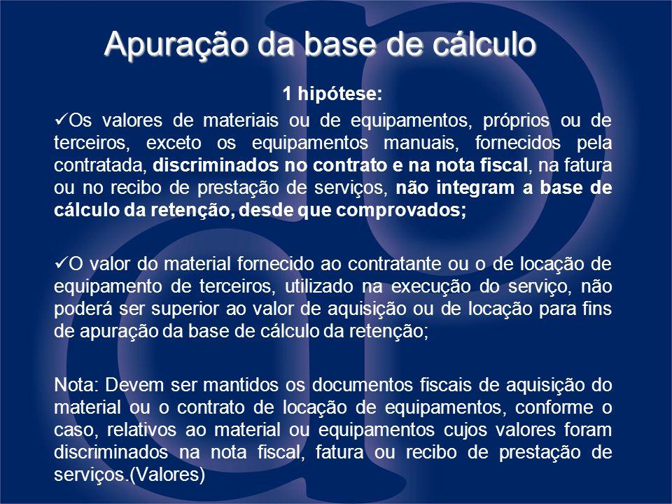 Apuração da base de cálculo 1 hipótese: Os valores de materiais ou de equipamentos, próprios ou de terceiros, exceto os equipamentos manuais, fornecid