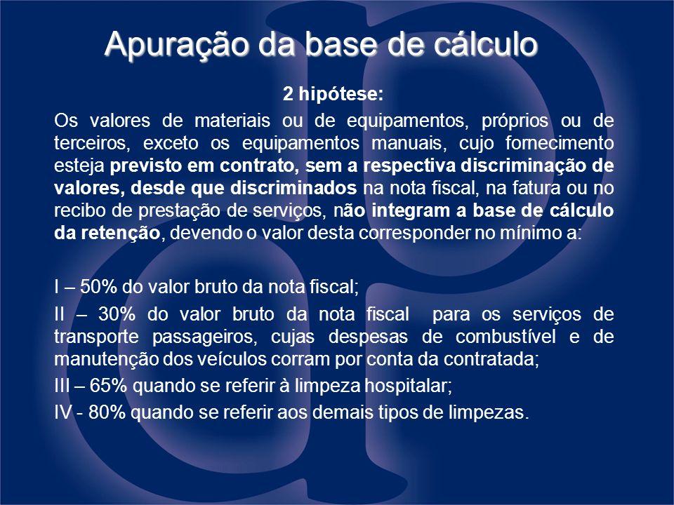 Apuração da base de cálculo 2 hipótese: Os valores de materiais ou de equipamentos, próprios ou de terceiros, exceto os equipamentos manuais, cujo for