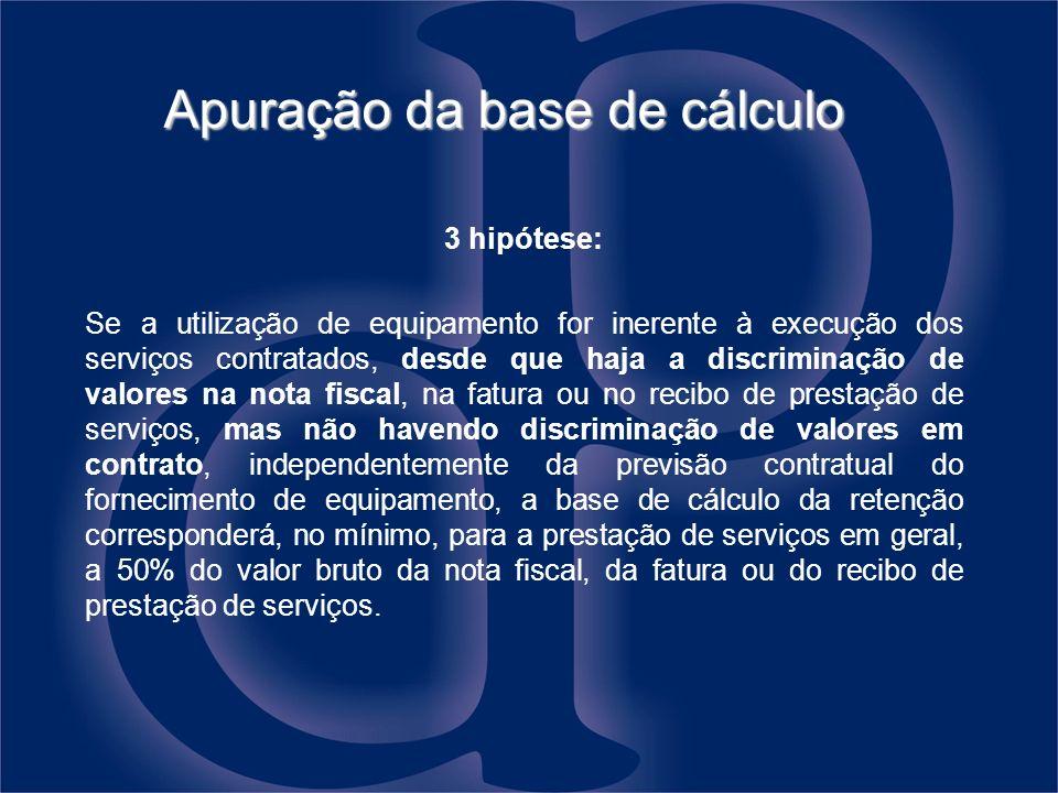 Apuração da base de cálculo 3 hipótese: Se a utilização de equipamento for inerente à execução dos serviços contratados, desde que haja a discriminaçã