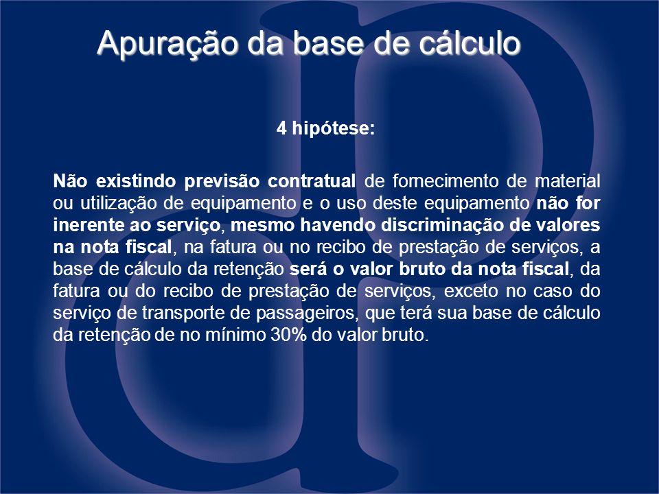 Apuração da base de cálculo 4 hipótese: Não existindo previsão contratual de fornecimento de material ou utilização de equipamento e o uso deste equip