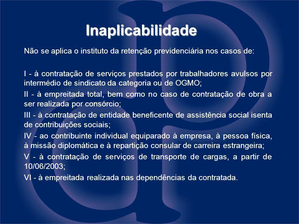Inaplicabilidade Não se aplica o instituto da retenção previdenciária nos casos de: I - à contratação de serviços prestados por trabalhadores avulsos