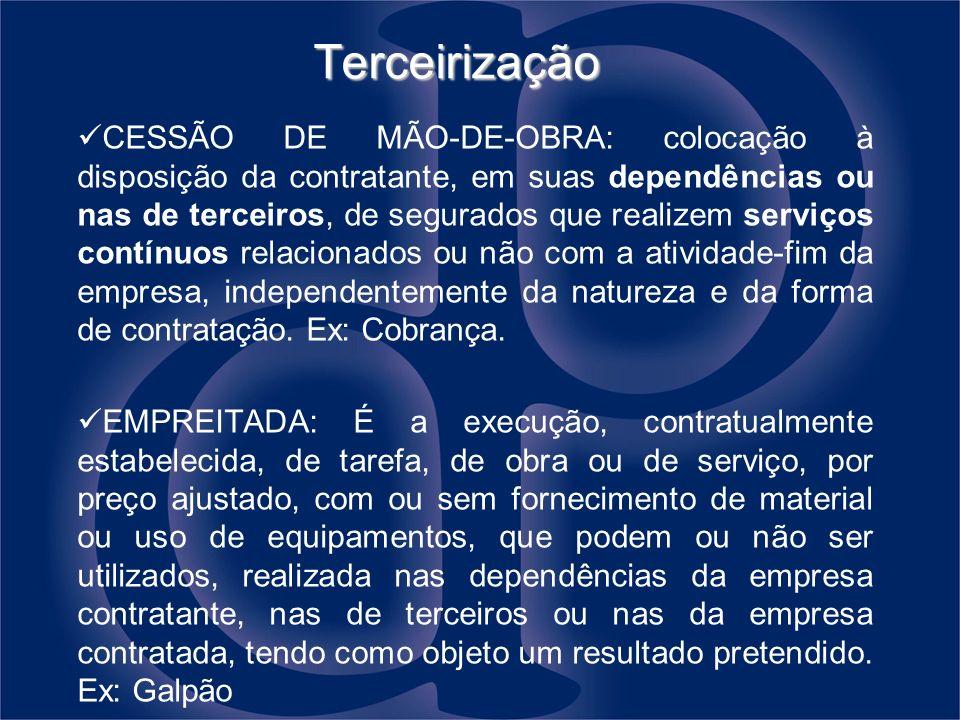 Terceirização CESSÃO DE MÃO-DE-OBRA: colocação à disposição da contratante, em suas dependências ou nas de terceiros, de segurados que realizem serviç