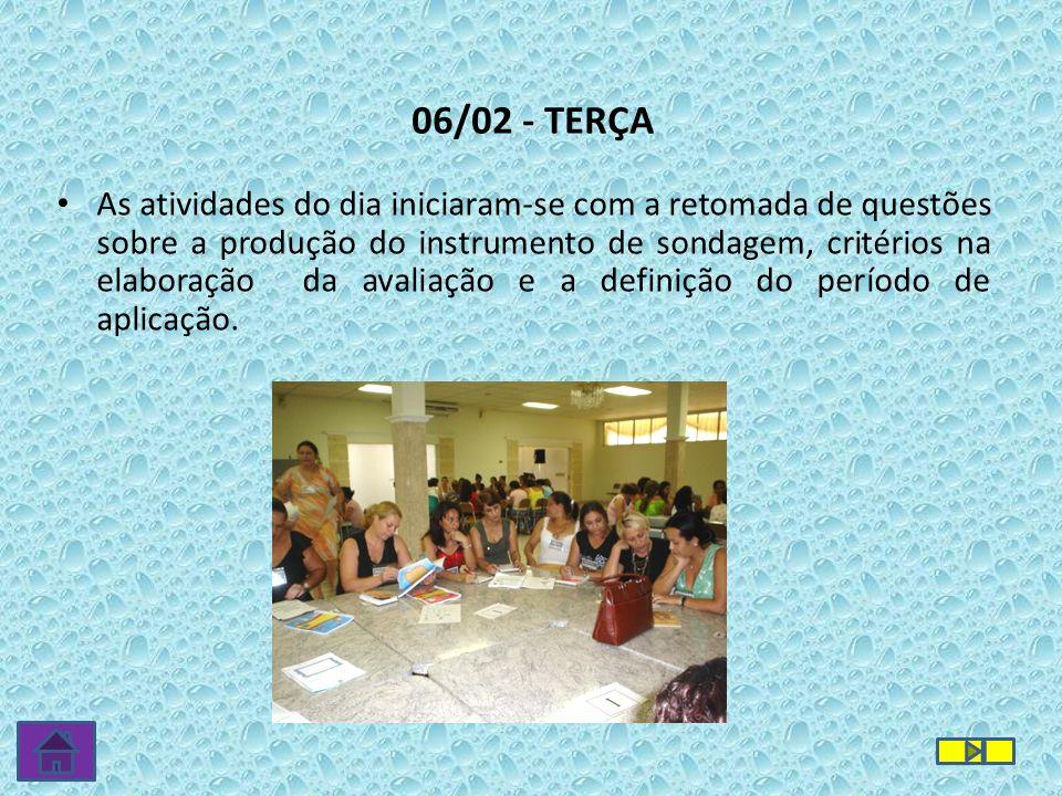 06/02 - TERÇA As atividades do dia iniciaram-se com a retomada de questões sobre a produção do instrumento de sondagem, critérios na elaboração da ava