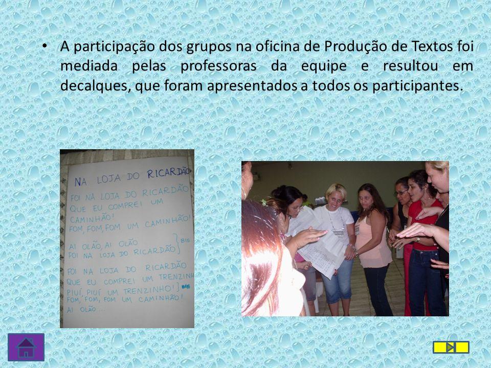 A participação dos grupos na oficina de Produção de Textos foi mediada pelas professoras da equipe e resultou em decalques, que foram apresentados a t