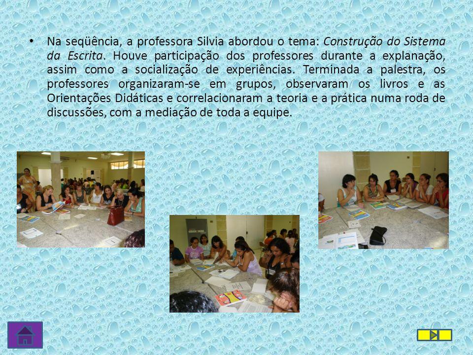 Na seqüência, a professora Silvia abordou o tema: Construção do Sistema da Escrita. Houve participação dos professores durante a explanação, assim com