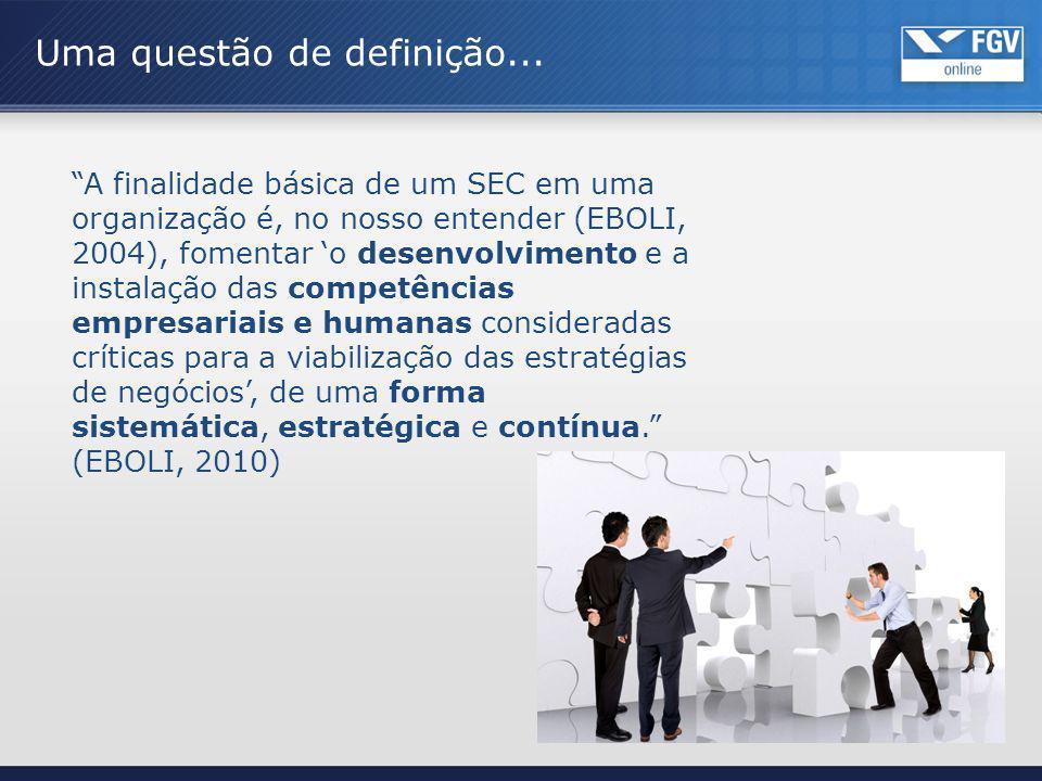 Uma questão de definição... A finalidade básica de um SEC em uma organização é, no nosso entender (EBOLI, 2004), fomentar o desenvolvimento e a instal