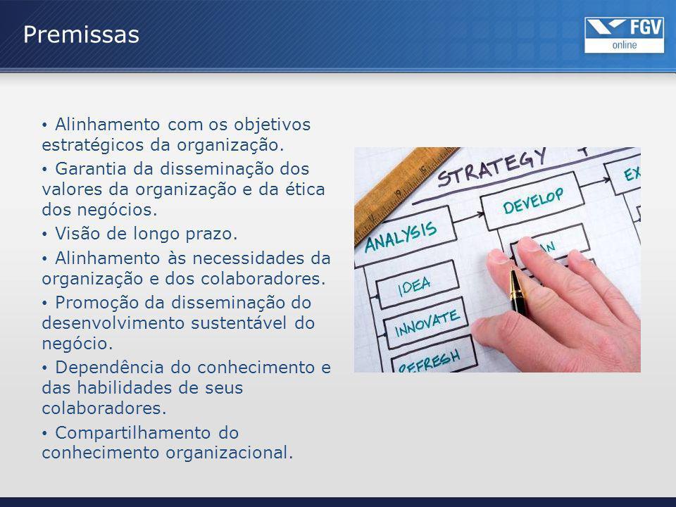 Alinhamento com os objetivos estratégicos da organização. Garantia da disseminação dos valores da organização e da ética dos negócios. Visão de longo